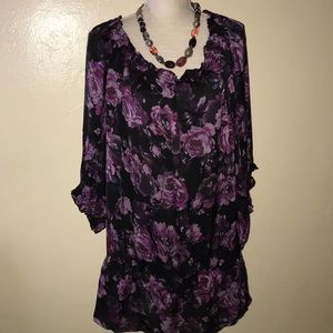 INC - Silk Black & Purple Floral Blouse
